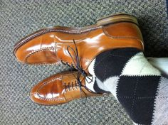 Alden whiskey shell cordovan norwegian split toe (NST) bluchers.