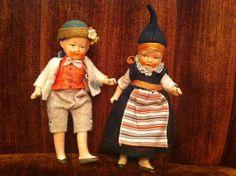 My mother's German dollhouse dolls. Circa 1930.