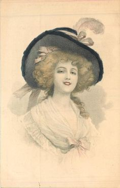 half length study of elegantly dressed girl in wide-brimmed hat, facing front, looking front
