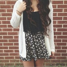 Skirt with black lace crop top