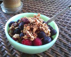 Raspberries, Blackberries, Blueberries Greek Yogurt and Granola A delicious treat to bring the day to an end. Raspberry Ideas, Yogurt And Granola, Blackberries, Greek Yogurt, Yummy Treats, Acai Bowl, Blueberry, Oatmeal, Foods