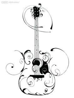 rockabilly style bass guitar tattoo | Guitar Swirl image - vector clip art online, royalty free & public ...