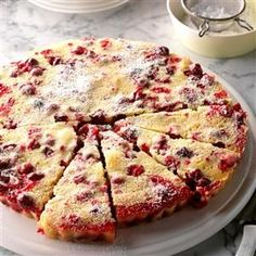 Nantucket Cranberry Tart Recipe -While everyone is enjoying a bountiful meal, this eye-catching tart can be baking to perfection in the oven. The pretty holiday dessert calls for very few ingredients, and it's a snap to assemble. —Jackie Zack, Riverside, Connecticut