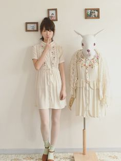 Mori girl embroidery shirt dress