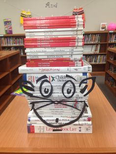 Cat in the Hat in the library at Jim Plain Elementary