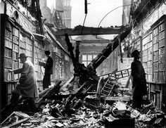 the bombed library at holland house, 1940.