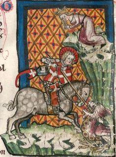 St. George and the Dragon ~ BSB Cgm 6 Legenda sanctorum aurea ~ 1362 ~ Alsace, France ~ Bayerische Staatsbibliothek