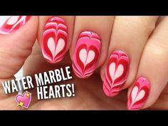 Una una vez Valentín especial: del clavo del patrón de mármol Agua Corazones  http://www.metdaan.com/valentine-special-marble-hearts-nails/