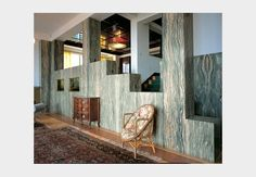 Green-white Rhône Valley marble lines Villa Müller's living spaces.