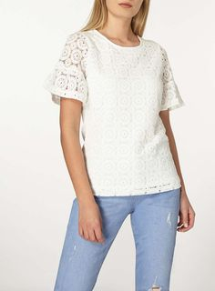 Ivory Flutter Sleeve Lace Top