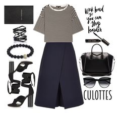 Tricky Trend: Culottes and Stripes by katrina259 on Polyvore featuring polyvore, fashion, style, TIBI, Topshop, Givenchy, Eva Fehren, CÉLINE, Bobbi Brown Cosmetics, Smythson, clothing, black, stripes and culottes