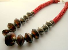 Ethnic Copper Color Metal and Dyed Bone Bead Necklace by thedepo,