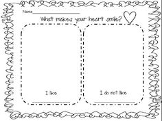 what makes your heart smile? freebie classroom, idea, valentine day, freebi, kinder read, heart smile, school social, heart health