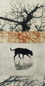 """Christine Willcocks """"Sighting the object as three trees have fallen"""" 4 plate etching 2011"""