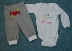 All You Need Is Love baby outfit by ThrivingHearts on Etsy, $26.00