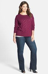 Caslon® Sweater & NYDJ 'Marilyn' Straight Leg Jeans (Plus Size)