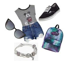 """""""Nicole"""" by lilicabsilveira-1 on Polyvore featuring Topshop, Vans, Fendi and Pandora"""
