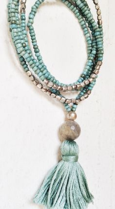 Image of Love Bead Necklace - Aqua & Reclaimed Silver Color Seed Beads with Handmade Tassel