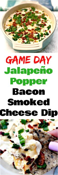 Smoked cheddar jalapeño popper bacon cheese dip is the perfect warm gooey appetizer with jalapenos cheddar parmesan cream cheese white wine and crunchy bacon. Perfect recipe for holidays game day tailgates Superbowl and events. Bacon Cheese Dips, Smoked Cheese, Smoked Bacon, Jalapeno Poppers, Best Appetizers, Appetizer Recipes, Spicy Recipes, Cooking Recipes, Dip Recipes