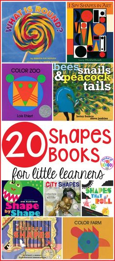 2D Shape Book list for preschool, pre-k, and kindergarten. It's packed with 20 shape books! Teach math concepts using quality children's books!