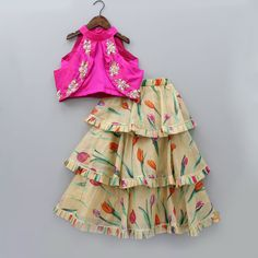 Pink Embroidered Choli And Printed Ghagra With Dupatta | Little Muffet