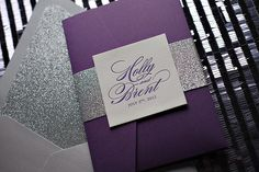 Letterpress Wedding Invitation in Pocket Folder, Purple and Silver ...
