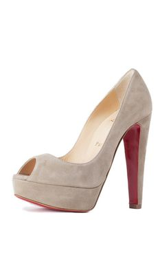 CHRISTIAN LOUBOUTIN Altanana Suede Platform Pump. The perfect nude pumps to complete any outfit! #trendy