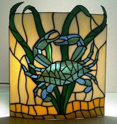 Custom Made Stained Glass Wall Sconce Crab Design by Terraza Stained Glass Stained Glass Light, Making Stained Glass, Custom Stained Glass, Stained Glass Panels, Stained Glass Projects, Stained Glass Patterns, Leaded Glass, Mosaic Glass, Fused Glass