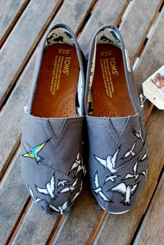 BE YOURSELF custom hand-painted TOMS shoes. $149.00, via Etsy.