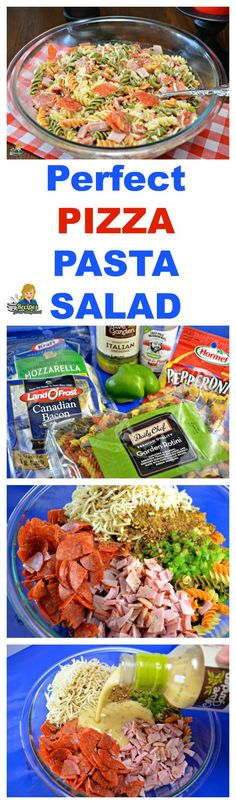 """YOU CAN MAKE THIS FANTASTIC PIZZA PASTA SALAD QUICK  I know you do not have a lot of time to spend in the kitchen.  This delicious easy Pizza Pasta Salad is the answer to the question """"What am I going to fix for dinner?""""    This post on my blog includes the recipe and a video to teach you how to make this terrific Pizza Pasta Salad.   SEE FULL RECIPE: http://recipesforourdailybread.com/pizza-pasta-salad/"""