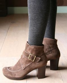 gray tights with brown boots