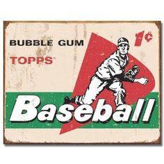 TOPPS - 1958 Baseball Cards Metal Tin Sign , 16x12