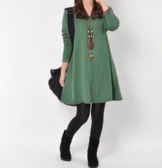 Green cotton sweater large knitted sweater casual loose sweater tops knitwear long women sweater dress plus size sweater cotton blouse