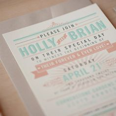 Vintage Typography Wedding Inviation- Includes invitation, RSVP card, RSVP envelope and outer envelope.    25-50.........................$4.50 each 51-75.........................$4.25 each 76-115.......................$4.00 each 116+..........................$3.75 each