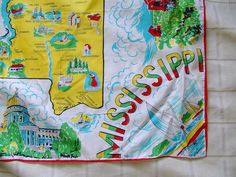 sweet vintage 1950s 1960s MISSISSIPPI map tourist souvenir scarf beach boating college cotton shrimping travel vacation