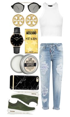"""Hey boy, I really wanna be with you"" by chlorineprincess ❤ liked on Polyvore featuring NIKE, Dsquared2, Tory Burch, Topshop, Illesteva, CLUSE, Moschino and sportystyle"