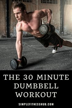 Dumbbells are so versatile and you can do a full body dumbbell workout in just 30 minutes. We've shared 5 dumbbell workouts for you to work on every muscle. Full Body Dumbbell Workout, Full Body Workout At Home, Ab Workout Men, Belly Fat Workout, No Equipment Workout, At Home Workouts, Body Weight Workouts, Dumbbell Exercises, Boxing Workout