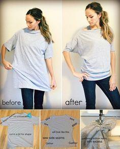 Turn Oversized T-shirt into Dolman T-shirt � DIY