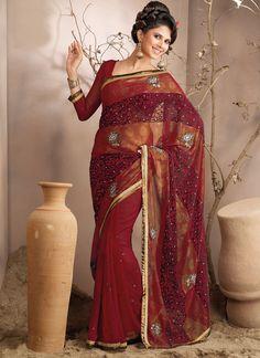 Gorgeous Reddish Maroon Saree