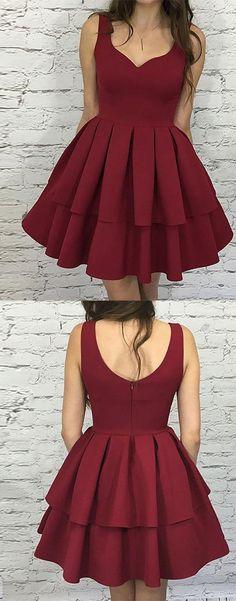 Cute homecoming dress,burgundy homecoming dress,short prom dress,burgundy evening dress,2018 homecoming dress