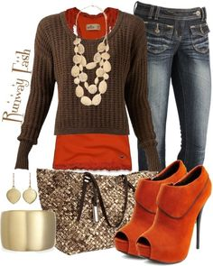 Autumn outfit - hate the shoes but like the orange and brown tones together