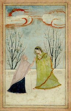 Love. A lady with a go-between on a terrace. Pahari School, Kangra Style. Date 1800 (circa). Painted in: Panjab Hills