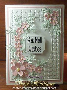 Crafts Too embossing folder, EK and MS punches. I like the look of the large dots!Simple, but pretty flowers Cool Cards, Diy Cards, Tarjetas Pop Up, Scrapbooking, Embossed Cards, Beautiful Handmade Cards, Marianne Design, Get Well Cards, Pretty Cards