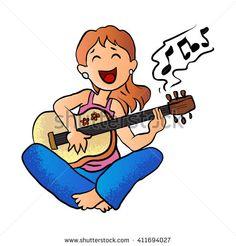 girl playing guitar cartoon vector