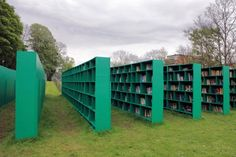 Bookyard, built by Massimo Bartolini for the Belgian art festival TRACK: A Contemporary City Conversation in Ghent. Visitors may browse and choose whatever book they like for a small donation.