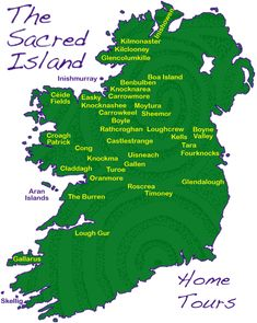 Map of Sacred Sites of Ireland, many dating from 6,000 years ago when a complex of megalithic temples were erected on key points in the landscape. The site is an expression of my fascination with ancient chambers and monuments, and especially engraved neolithic art, the oldest writing in Ireland.