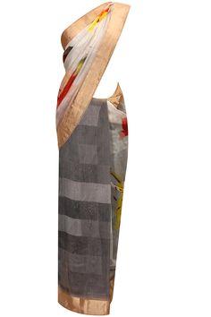 Grey shaded digital flower print sari by Ekaya    Shop now:  http://www.perniaspopupshop.com/designers/ekaya       #shopnow #perniaspopupshop #ekaya