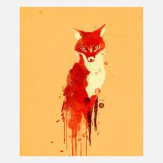 water color red fox... like the drips.. maybe a darker background.. cute for a kids room series of animals.
