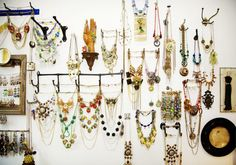 Get creative with hooks & knobs to display all your necklaces! #jewelry #jewelery #storage