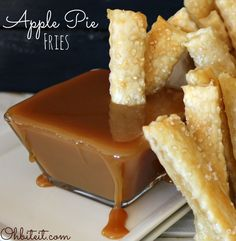 "Apple Pie Fries - What you'll need: 1 Package of Pillsbury Refrigerated pie Crust (2 ct.), Approx. 1.5 cups of Apple Pie Filling, 1 Egg, Sparkle Sugar for sprinkling..a.k.a. ""Salt"", Caramel Sauce and/or Ice Cream for dipping, A food processor..optional!, A decorative edge roll-cutter..optional!  :"